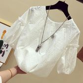 仙仙女氣質白色短袖雷絲上衣女勾花鏤空娃娃蕾絲衫夏