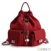 編織包-法國盒子.韓流編織毛呢大容量多用後背包(共三色)H9007