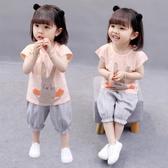女童夏套裝 2020新款女童夏裝2兒童一歲夏季洋氣3女短袖小童夏天套裝女孩【快速出貨】