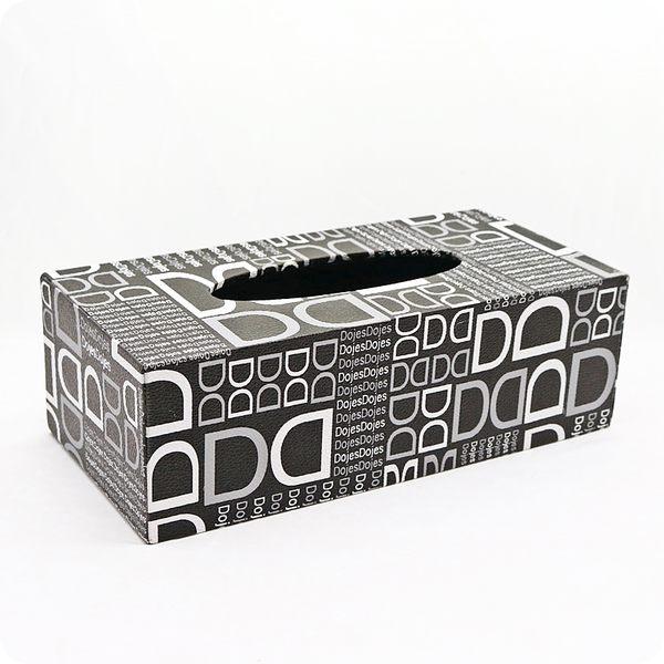 【雅典娜家飾】現代風黑底仿皮革D字母圖樣底掀式面紙盒/餐巾盒/衛生紙盒盒/GF40