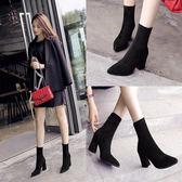 新款短靴女秋冬粗跟彈力靴女鞋高跟尖頭中筒靴英倫風馬丁靴子    韓小姐