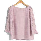 秋冬8折[H2O]格子雪紡袖拼接蕾絲花朵八分袖上衣 - 白/卡/粉色 #9635015