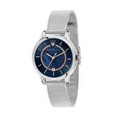 【Maserati 瑪莎拉蒂】EPOCA珍珠貝母三針米蘭腕錶-銀藍系/R8853118507/台灣總代理公司貨享兩年保固
