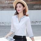 七分袖上衣高含棉白色襯衫女21春季新款七分袖寬鬆上衣v領刺繡襯衫 快速出貨