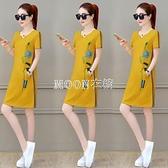 含棉夏季短袖洋裝女裝新款韓版寬鬆休閒減齡中長款t恤裙子 快速出貨