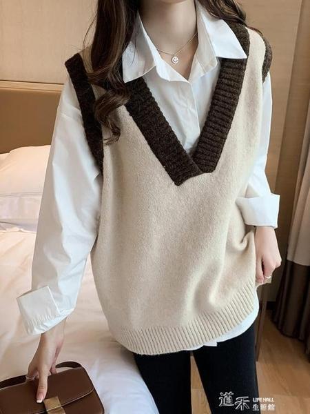 針織馬甲 針織馬甲背心女秋冬新款外搭學院風寬鬆無袖外穿毛衣百搭坎肩 新年禮物