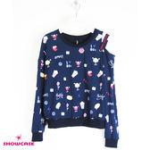 【SHOWCASE】俏麗趣味彩圖單挖肩收腰長袖棉質T恤(藍)