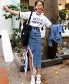 韓牛仔裙半身裙破洞裙原宿撕破拉絲不規則設計須邊開叉破洞牛仔半身裙N705.6087愛尚布衣
