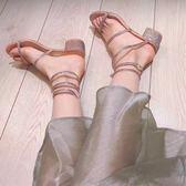 高跟涼鞋 2019新款網紅同款蛇形纏繞涼鞋女夏粗跟中跟羅馬綁帶高跟鞋百搭 生活主義