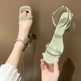 淑女氣質涼鞋女夏季新款職業高跟涼鞋粗跟皮帶扣仙女鞋女 【全館免運】