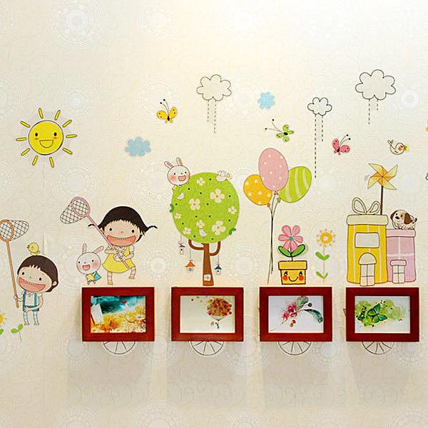 實木相框牆 童趣壁貼 4框相框架《YV3987》HappyLife