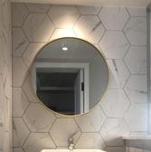 浴鏡 北歐浴室鏡子衛生間壁掛免打孔圓鏡廁所洗手間帶置物架梳妝圓形鏡 WJ 零度