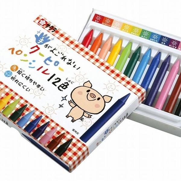 【日本製】【SAKURA】COUPY-PENCIL 不髒手彩色蠟筆 12色(一組:10個) SD-3704 - 日本製