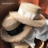 米蘭 韓國東大門新款蝴蝶結拉菲草草帽子女士夏天沙灘度假出游禮帽優雅
