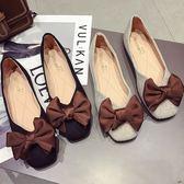 平底包鞋.復古撞色大蝴蝶結方頭淺口包鞋.白鳥麗子