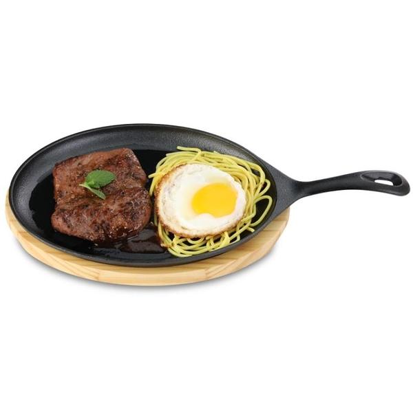家用鐵板燒盤煎盤牛扒盤子 商用煎牛排盤不沾鑄鐵燒烤盤 亞斯藍