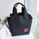 【防水款水杯位】飯盒袋手提包清新便當包防水女包飯盒包大號 水晶鞋坊