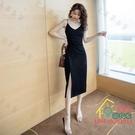 吊帶洋裝 春秋新款黑色氣質吊帶連衣裙女V領性感小黑裙開叉內搭中長裙 限時折扣