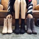 小短靴女2019秋冬新款韓版百搭瘦瘦靴粗跟中跟馬丁靴方頭短筒女靴 滿天星