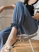 休閒運動褲 冰絲雪紡燈籠褲女夏2021新款薄款寬松束腳防蚊垂感高腰休閑闊腿褲