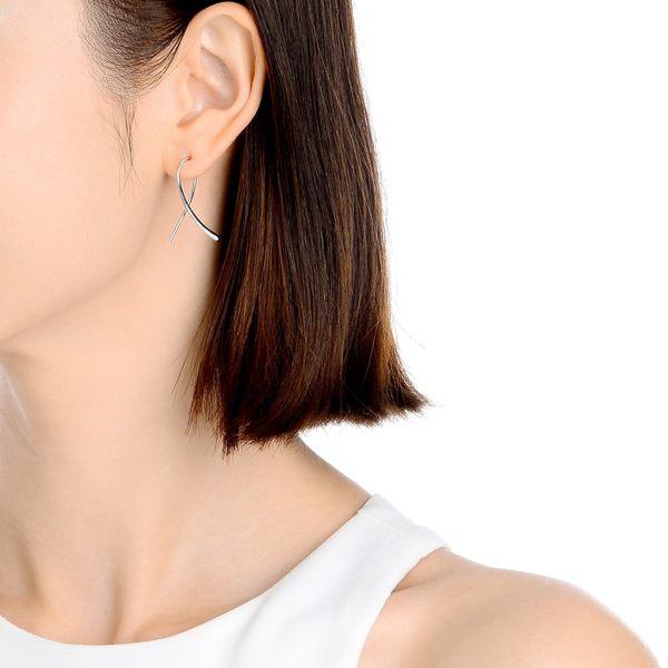 點睛品 Ear Play 鉑金簡約絲帶造型耳環