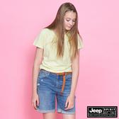 【JEEP】女裝 V領透氣短袖TEE-黃綠