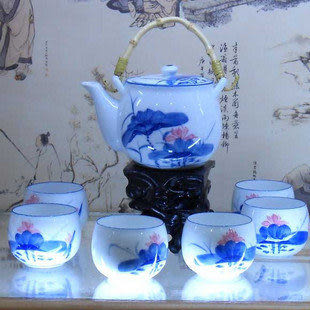 景德鎮陶瓷 家居日用 青花釉中7頭提梁茶具 荷花