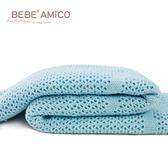 Amico 鏤空編織好眠毯(熊兔款)-粉藍