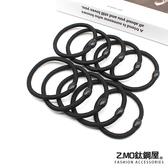 黑色髮圈 Z.MO鈦鋼屋 髮飾 髮繩 綁頭髮 簡約基本款 馬尾女孩 塑膠+彈力繩【HTA104】單個價