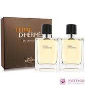 HERMES 愛馬仕 Terre D'Hermes大地男性淡香水禮盒(50mlX2)-國際航空版【美麗購】