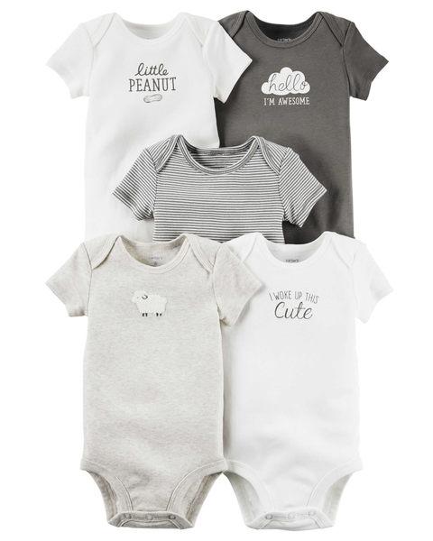 【美國Carter's】包屁衣五件組 - 甜蜜雲朵系列純棉短袖包屁衣 126G250