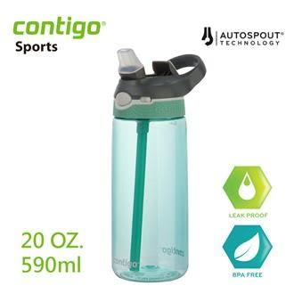 【美國CONTIGO】Ashland運動吸管瓶590cc-灰綠色