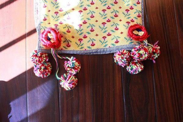 ☆ 莎lala【L611017】日系保暖針織圍巾-(現)花朵彩球球包邊(長度:180cm)