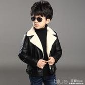冬季男童外套加絨加厚皮衣兒童中大童皮夾克保暖外衣女童上衣 深藏blue