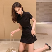 網紅女神小黑裙洋氣高腰兩件套春夏新款復古改良版旗袍連身裙 韓美e站