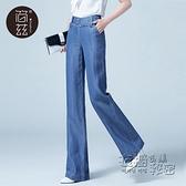 天絲牛仔寬管褲女夏季新款高腰顯瘦薄款寬鬆垂感冰絲直筒褲女 衣櫥秘密