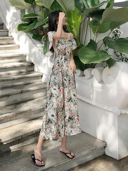 長洋裝 海灘度假風溫柔長裙 2020夏季新款韓版寬鬆時尚碎花吊帶裙洋裝女