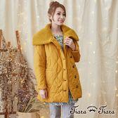 【Tiara Tiara】激安 內刷毛針織翻領長袖外套(黃)