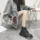 馬丁靴秋冬新款馬丁靴女英倫風chic短靴女粗跟平底機車靴子女短筒潮新品--當當衣閣