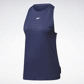 REEBOK LES MILLS® PERFORATED 女裝 背心 訓練 休閒 修身 排汗 舒適 藍【運動世界】GE1022