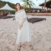 波西米亞長裙女夏白色沙灘裙海邊度假海灘裙抹胸一字肩超仙連身裙 洋裝