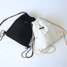 素色拉鏈抽繩束口帆布後背包 3色【F92...
