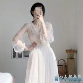 2020年新款法式復古仙女蕾絲洋裝網紗連身裙溫柔風內搭打底氣質長裙子 KP17【甜心小妮童裝】