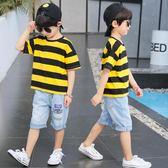童裝兒童套裝洋氣男童圓領條紋短袖短褲帥氣兩件套潮 糖果時尚
