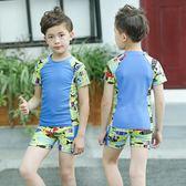 兒童泳衣男童泳褲套裝男孩分體中小童可愛印花卡通游泳衣送帽  XY1440  【男人與流行】