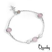 Quenby 甜美魅力好搭風人造粉晶手鍊/手環-C