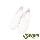 W&M(女)正韓菱格 彈力帶直套懶人鞋 女鞋-白(另有黑)