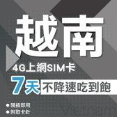 越南上網卡 7天 4G上網 吃到飽 不降速 網路卡 SIM卡 即插即用 送卡套取卡針 境內 通用