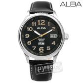 ALBA / VJ43-X036C.AV3509X1 無限延展日期星期真皮腕錶 黑x淺橘 45mm
