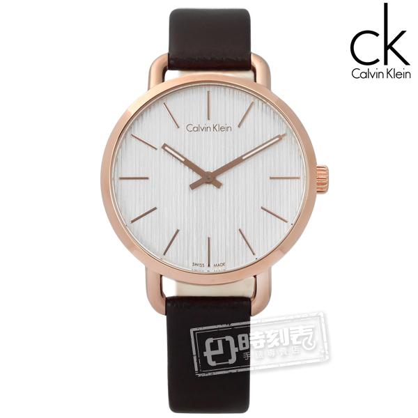 CK / K7B236G6 / EVEN 沉靜雅緻 岩紋 瑞士機芯 皮革手錶 銀白x玫瑰金框x深褐 36mm